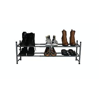Hyfive shoe rack 2 tier extendable shoe storage organiser hallway tidy wardrobe space saver