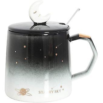 Taza de cerámica con tapa y juego de cuchara, 13.5 oz Creative Cartoon Adorable Planet Coffee Mug, taza de agua de oficina personalizada