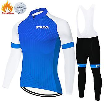 Strava Homme Hiver Thermique Polaire Cyclisme Jersey Set + Pantalon 3D Pantalon /bleu
