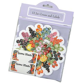 Traditional Fruit Design Home Made Jar Cover & Label Set, Pack of 12