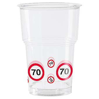 Becher 10 St. Verkehrsschild Zahl 70 Geburtstag Trinkbecher 350 ml Party