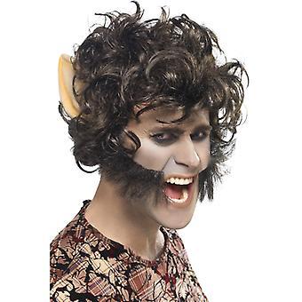 Wilkołak wig z broda u uszy wilkołaka wig Halloween potwór