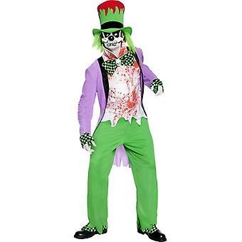 Evil Mad Hatter kostume med top bukser Hat skjorte maske overtrækssko og HA størrelse S