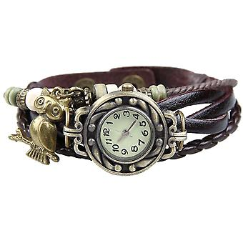 Boolavard® TM Owl Quartz Art and Weave Wrap Around Leather Bracelet Women Wrist Watch