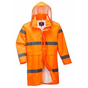 Portsko-Hi-Vis bezpečnost pracovní oděvy dlouhý Vodotěsný pláštěnka 100 cm s stříškou