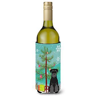 Merry Christmas Tree standaard Schnauzer zwarte fles wijn Beverge isolator Hugg