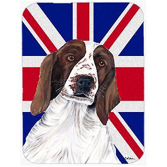 Springer Spaniel with English Union Jack British Flag Glass Cutting Board Large