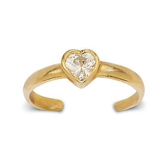14k Yellow Gold CZ Cubic Zirconia Simulated Diamond Adjustable Elegant Love Heart Shape Body Jewelry Toe Ring Jewelry Gi