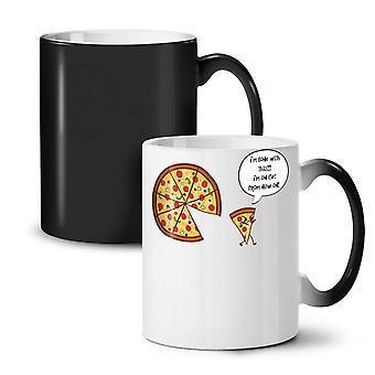 Pizza Slice On Diet Funny NEW Black Colour Changing Tea Coffee Ceramic Mug 11 oz | Wellcoda