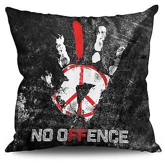No Offence Peace Slogan Linen Cushion 30cm x 30cm | Wellcoda