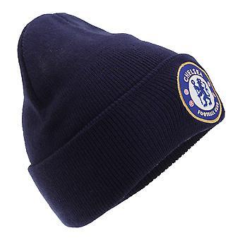 Chelsea FC Unisex offisielle strikket vinter fotball Crest lue
