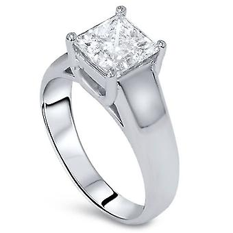 1ct Princess Cut Diamond Solitaire Engagement Ring 14k White Gold