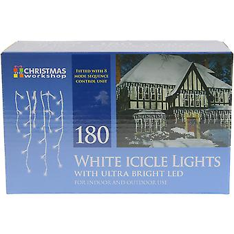 Christmas Workshop Bright White 180 LED Icicle Xmas Lights Indoor And Outdoor Use