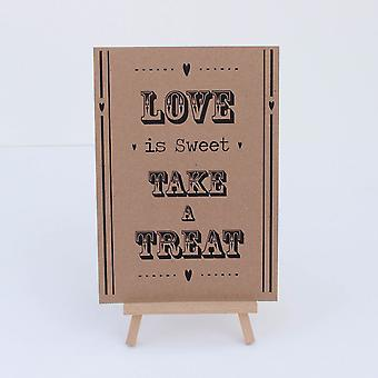 Candy Sweet Bar Sign Kraft Brown 'Love Is Sweet' Sign And Easel Stand - Wedding v2
