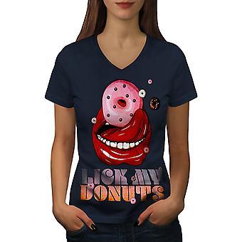Nuole My Donut Funy Food Women NavyV-Neck T-paita | Wellcoda, mitä sinä olet?