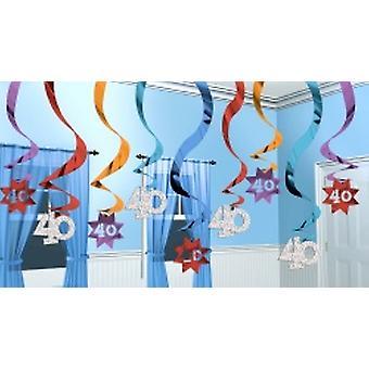 40 hängande Swirl dekoration part fortsätter 15 strängar (antal 1)
