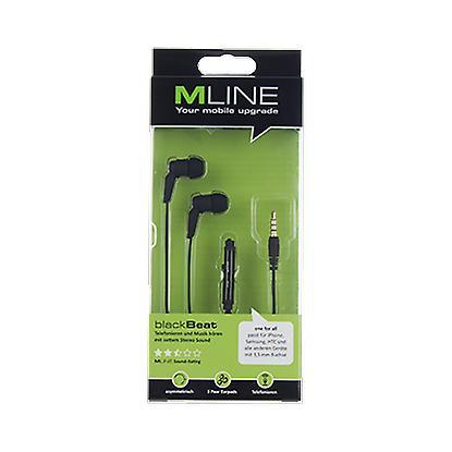 Mline root stereo headset Hi-Fi headphone black beat UNI, iPhone and Smartphone