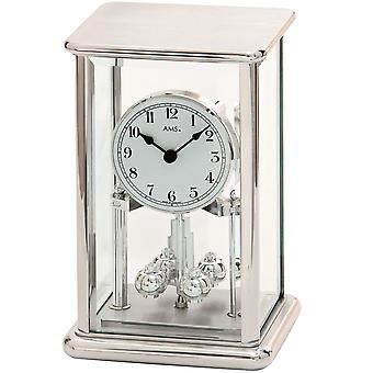 År klokke sølv år klokke kvarts mineralglass med kabinett i metall