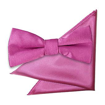 Mulberry Plain Satin Bow Tie & Pocket Square Set for Boys