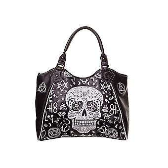 Banned Black Skull Pentagram Handbag