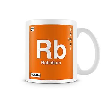 Scientific Printed Mug Featuring Element Symbol 037 Rb - Rubidium
