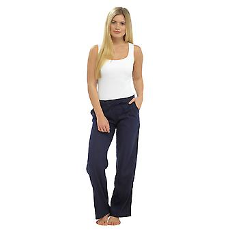 Womens Solid Colour Ribbed Waist Linen Trouser Bottoms Pants Navy 18