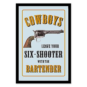 Cowboys leave your Sixshooter turret wall mirror with black plastic framing wood.