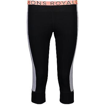 Mons Royale Women's Alagna 3/4 Leggings - Black/Thin Stripe