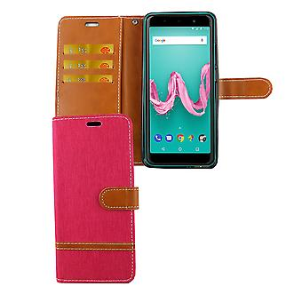 WIKO Lenny 5 cell phone case protective bag case cover compartment boxes wallet pink