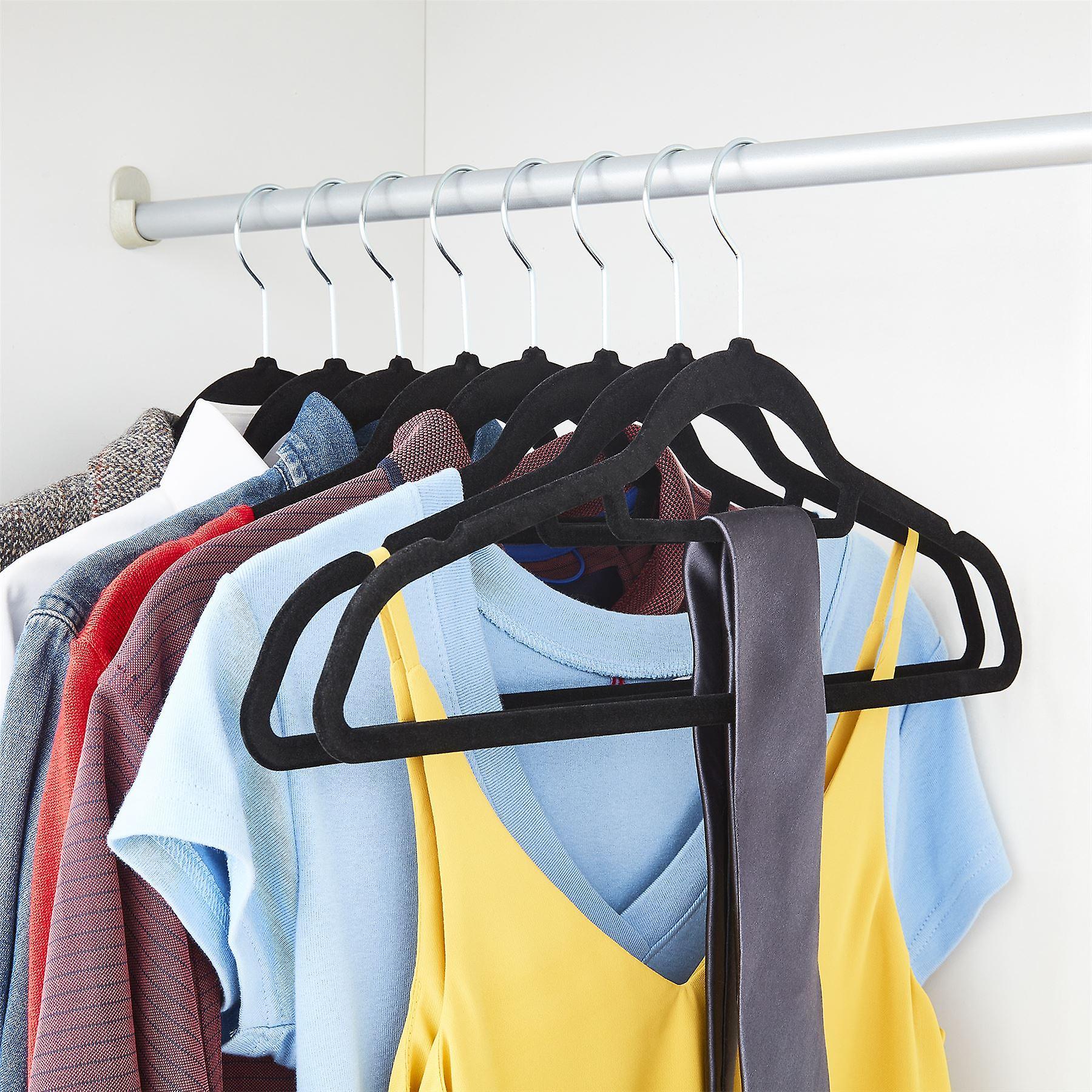 20 Black Non Slip Velvet Hangers With Tie Belt Scarf Holder - Ultra slim design