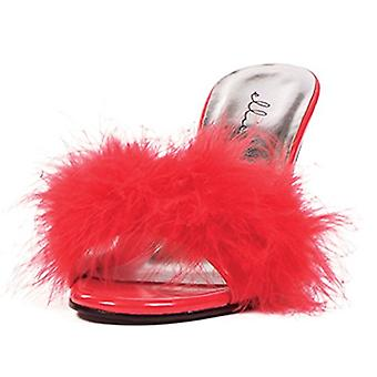 Vrouwen 3,5 Inch hiel Maribou Slippers (rood; 11)