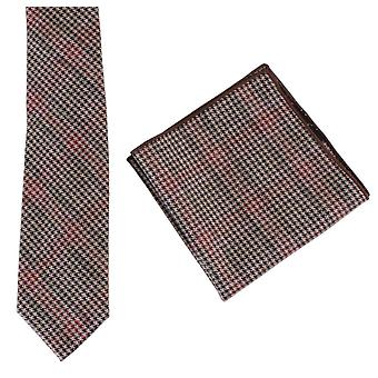 Conjunto de Knightsbridge Neckwear Príncipe de Gales seleção gravata e lenço de bolso - marrom/rosa/vermelho