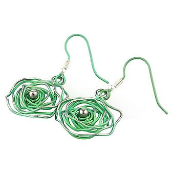 TI2 titanio caos circolare orecchini - verde fresco