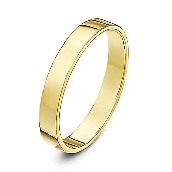 Star Wedding Rings 9ct Yellow Gold Light Flat Court Shape 3mm Wedding Ring