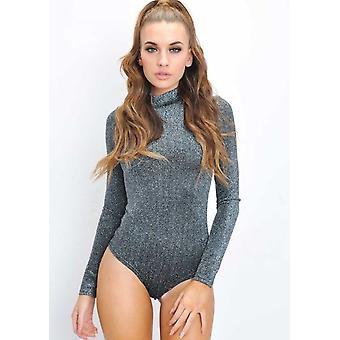 Paillettes Lurex col haut Stretch Bodysuit Silver
