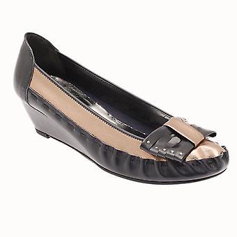 Zaccho Women's Blue Low Wedge Slip On Shoe