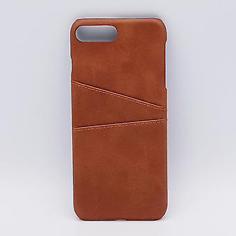 Voor IPhone 7/8 - kunstlederen back cover / wallet - bruin