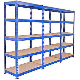 Monster Racking 3 x Q-Rax Regal Hochleistungsregal Schwerlastregal Lagerregal Garagenregal Stahlregal Industrieregal Werkstattregal Steckregal Metallregal 100% schraubenlos 90cm in Blau