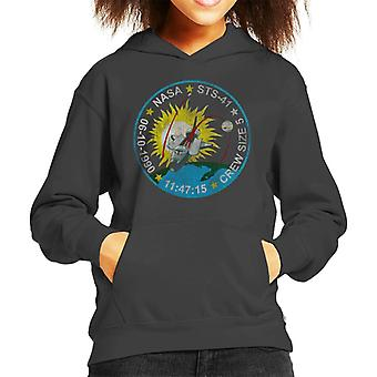 NASA STS 41 Discovery Mission Badge Distressed Kid's Hooded Sweatshirt