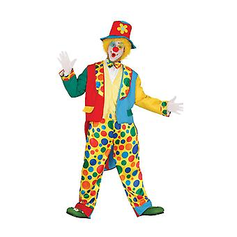 Mens felgekleurde Clown Fancy Dress kostuum