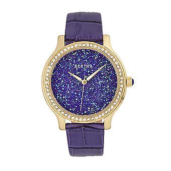 Bertha Cora incrustaciones de cristal reloj correa de cuero - púrpura