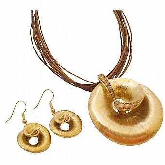 قلادة الذهب العرقي ث بلورات كولورادو براون مجموعة المجوهرات مولتيسترينج
