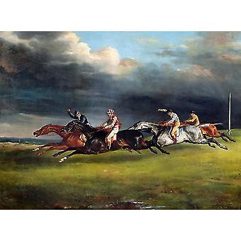 エプソンのダービー、セオドア・ジェリコー、50x37cm