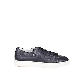 Santoni Mbcn14387barcmiau55 Men's Blue Leather Sneakers