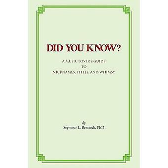 Visste du en musikk elskere Guide til kallenavn titler og sin spesielle måte av Benstock Phd & Seymour L.