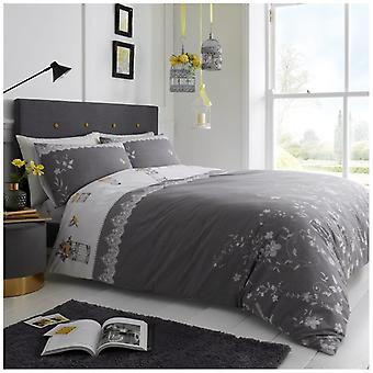 Lucy Grey Floral Reversible Polycotton Duvet Quilt Cover Bedding Set Pillow Case