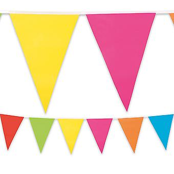 Multi Coloured Plastic Bunting 10m Long Summer Garden Party Birthday Decoration