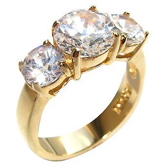 Ah! Joias 4,70 ct simulada diamantes 3 pedra aniversário passado - presente - futuro