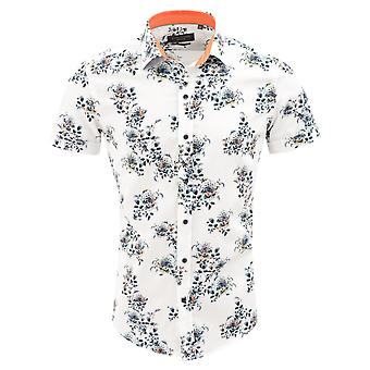 Guide London Luxurious White Cotton Floral Print Mens Short Sleeve Shirt