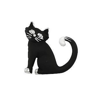 Eeuwige collectie Cornelius de kat zwart emaille zilveren Toon broche